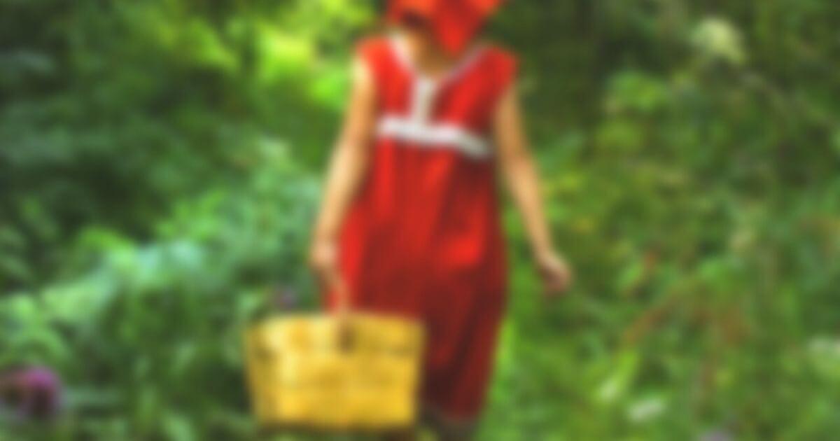 森のなかを歩く赤ずきん